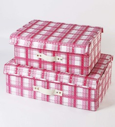 My Gift Booth Leatherette Pink & White Storage Trunk - Set of 2