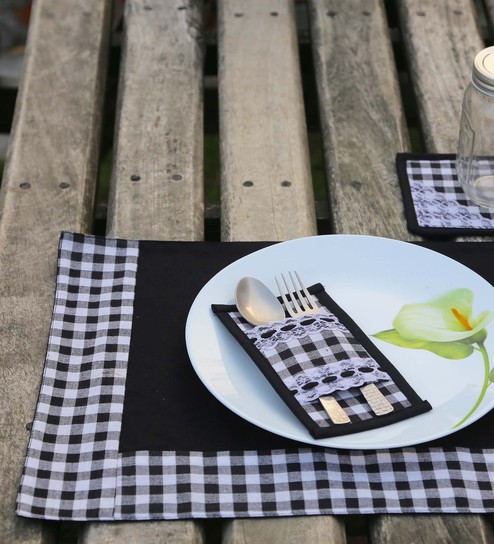 My Gift Booth Multicolour Cotton Placemats With Coasters & Cutlery Holders - Set Of 6