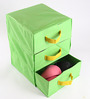 My Gift Booth Non-woven Green Foldable 3 Compartments Drawer