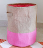 My Gift Booth Jute 20 L Pink Collapsible Laundry Bag