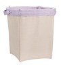 My Gift Booth Cotton Beige & Purple Long Lasting Laundry Bag