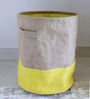 My Gift Booth Jute 20 L Yellow Collapsible Laundry Bag