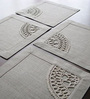 My Gift Booth Border Lace Grey Linen Table Mat - Set of 4