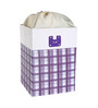 My Gift Booth Check Faux Leather 20 L Purple Laundry Box