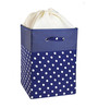 My Gift Booth Navy Polka Faux Leather 20 L Navy Blue Laundry Box