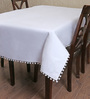 My Gift Booth Pom-Pom Lace White Cotton Table Cover