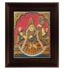 Myangadi Multicolour Gold Plated Antique Saraswathi Framed Tanjore Painting