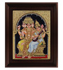Myangadi Multicolour Gold Plated Brahma Saraswathi Framed Tanjore Painting