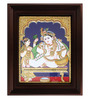 Myangadi Multicolour Gold Plated Butter Krishna Tanjore Framed Painting