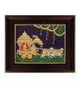 Myangadi Multicolour Gold Plated Chariot Krishna with Arjuna Tanjore Framed Painting