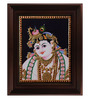 Myangadi Multicolour Gold Plated Face Krishna Tanjore Plywood & Cloth Framed Painting
