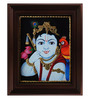 Myangadi Multicolour Gold Plated Face Krishna with Parrot Tanjore Framed Painting