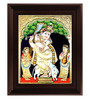 Myangadi Multicolour Gold Plated Krishna Playing Flute Framed Tanjore Painting