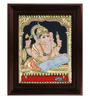 Myangadi Multicolour Gold Plated Reading Ganesha Plywood & Cloth 2.9 X 14 X 18 Inch Framed Tanjore Painting