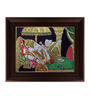 Myangadi Multicolour Gold Plated Reading Ganesha Framed Tanjore Painting