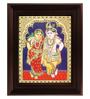 Myangadi Multicolour Gold Plated Krishna Rukmani Plywood & Cloth 2.9 X 14 X 18 Inch Framed Tanjore Painting