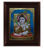 Myangadi Multicolour Gold Plated Krishna with Butter Pot Tanjore Framed Painting