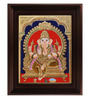 Myangadi Multicolour Gold Plated Mantap Ganesha Framed Tanjore Painting