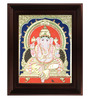 Myangadi Multicolour Gold Plated Mantap Ganesha Cloth & Plywood 2.9 X 14 X 18 Inch Framed Tanjore Painting