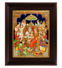 Myangadi Multicolour Gold Plated Ramar Pattabishekam Framed Tanjore Painting