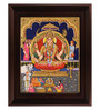Myangadi Multicolour Gold Plated Santhoshi Mata Framed Tanjore Painting