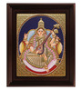 Myangadi Multicolour Gold Plated 2.9 X 14 X 18 Inch Saraswathi Framed Tanjore Painting