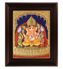 Myangadi Multicolour Gold Plated Sitting Ganesha Framed Tanjore Painting