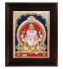 Myangadi Multicolour Gold Plated Ganesha Cloth & Plywood Framed Tanjore Painting