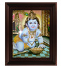 Myangadi Multicolour Gold Plated Taval Krishna Framed Tanjore Painting