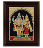 Myangadi Multicolour Gold Plated Vishnu Lakshmi Framed Tanjore Painting