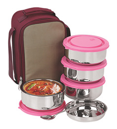Nano 9 Insulated Pink and Silver Stainless Steel 2.25 L Senior Lunch Box - Set of 4