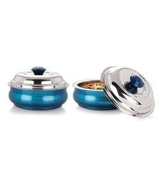Nano 9 Insulated Belly Blue Stainless Steel 1000 ML Serving Pot - Set of 2