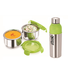 Nano 9 Insulated Fruit & Salad Stainless Steel Lunch Box With Energy Cool Bottle - Set Of 3