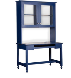 Nautical Theme Desk with Hutch Cabinet in Navy Blue Finish by Pink Guppy