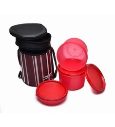 Nayasa Vital Maroon Polypropylene Lunch Box - Set of 3