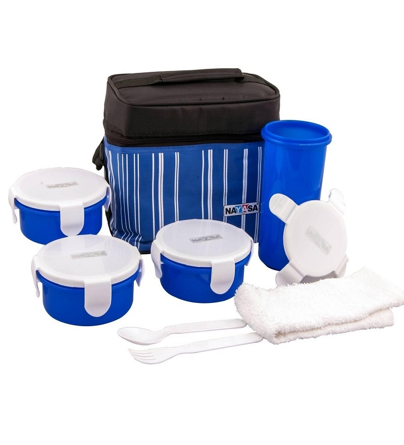 Buy nayasa airtight blue plastic 7 piece lunch box with for Decor 7 piece lunch set