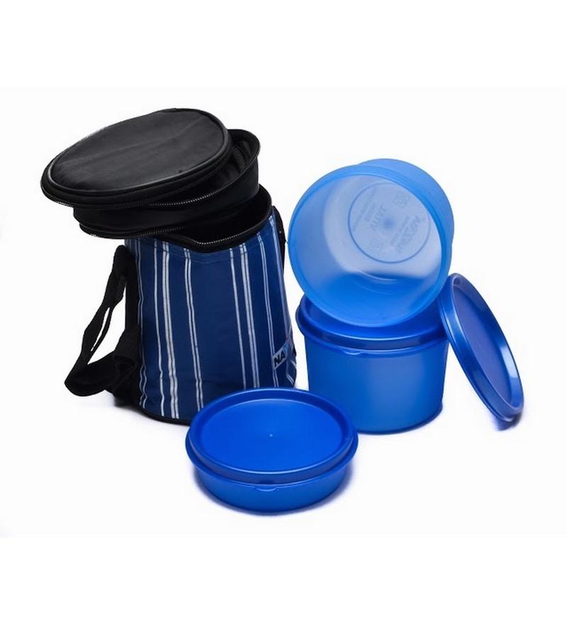 Nayasa vital blue polypropylene lunch box set of 3 by for Zaffron kitchen set lunch