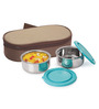 Nano 9 Insulated Silver and Teal Stainless Steel 500 ML Junior Lunch Box - Set of 2