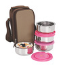 Nano 9 Insulated Pink and Silver Stainless Steel 1 L Junior Lunch Box - Set of 4