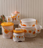 Nayasa Plastic White & Yellow Printed Big Bucket - Set of 8