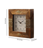 NB Home Interior Brown MDF & Mango Wood 8 x 2 x 8 Inch Square Wall Clock