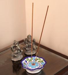 Neerja White & Blue Ceramic Pottery Agarbati Stand