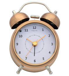 Nextime Copper Metal 3.5 x 1 Inch Wake Up Round Alarm Clock