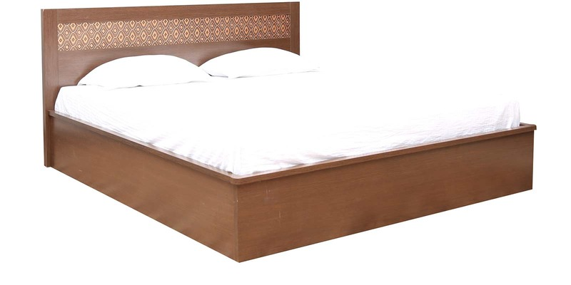 Nebula New King Bed With Full Hydraulic Storage in Coffee Brown Colour by HomeTown