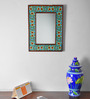 Neerja Yellow & Blue Wood & Ceramic Pottery Mirror