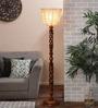 New Era Brown Cotton Floor Lamp