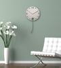Nextime Silver Plastic 11.4 Inch Pendulum Round Wall Clock