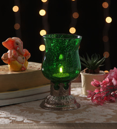 Ni Decor Green Metal & Glass Tea Light Holder