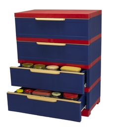 Nilkamal Freedom CHESTER - 14 With 4 Drawers (Pepsi Blue and Bright Red)
