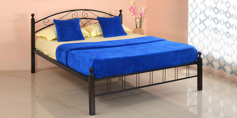 Nimbo Queen Bed without Storage in Black Colour by @home